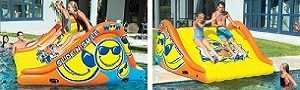 WOW-Slide and Smile Inflatable Pool Slide use on a deck or floating in pool