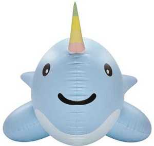 Giant Norwhal Pool Float - front view