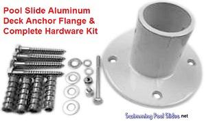 Swimming Pool Slide Aluminum Deck Anchor Flange with Hardware Set