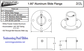 Aluminum Pool Slide Deck Anchor Illustrated Dimentions