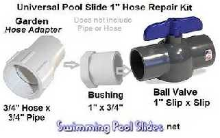 Universal Pool Slide Hose Kit for 1 inch Hose