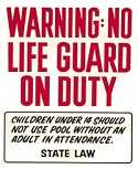 Sign-Warning No Life Guard