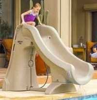 Slideaway roto-molded, movable inground swimming pool slide