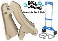 Slideaway movable inground swimming pool slide
