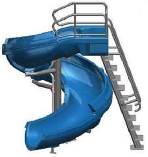 Vortex Open Flume Swimming Pool Slide with Ladder