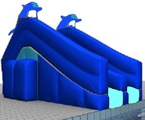 blue dolphin inflatable swimming pool slide enlarge - Inflatable Pool Slide